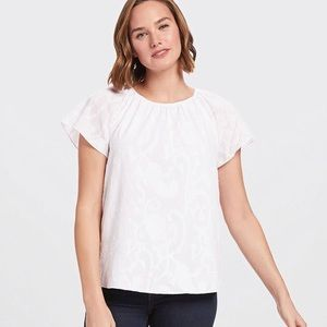 Draper James | Embroidered Gathered Popover Top